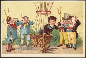 10th century postcard of boys near hot air balloon